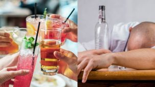 Deux images : à gauche, plusieurs amis qui trinquent avec leurs verres d'alcool, à droite un homme qui ne va pas bien, la tête contre une table, une bouteille d'alcool à la main.