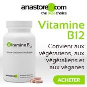 """Vitamine B12 : boîte, gélules et explications sur fond blanc """"convient aux végétariens, végétaliens et véganes"""""""