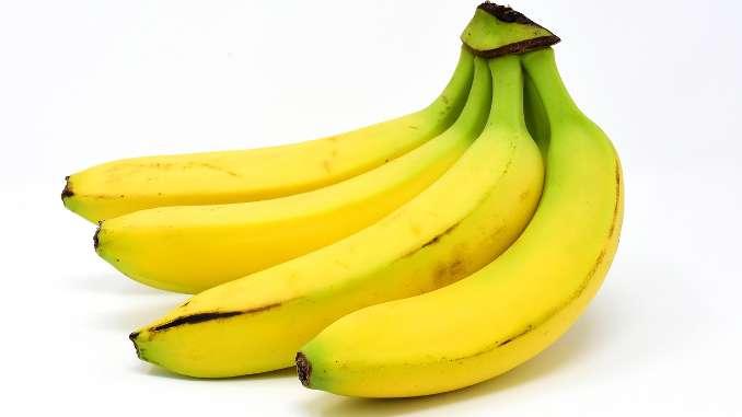 4 bananes jaunes en gros plan sur fond blanc