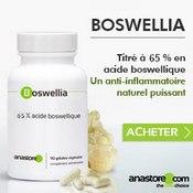 Complément alimentaire à base de boswellia serrata : boite, gélules et résine.