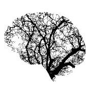 Forme du cerveau créée à partir des branches d'un arbre. Le cerveau arbre est noir sur fond blanc.