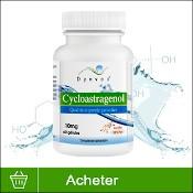 """Cycloastragenol anti-âge : compléments alimentaires anti-vieillissement de la marque Dynveo. Le produit (boîte blanche plutôt sobre) est présenté sur fond blanc, avec un bandeau vert """"Acheter"""" en bas de l'image."""