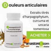Anti-inflammatoires naturels à base de curcuma, harpagophytum et uncaria tomentosa : boite et gélules sur fond gris.