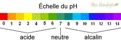 Échelle du pH pour l'alimentation alcaline. L'échelle va du plus acide 0 au plus alcalin 14.