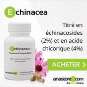 Complément alimentaire à base de d'echinacea : boite, gélules et fleurs