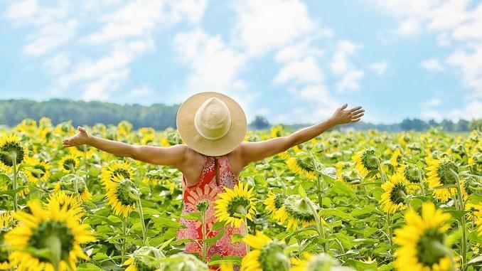 Une femme de dos, les bras en l'air, qui porte un chapeau de paille en plein milieu d'un champ de tournesols en fleur. Le ciel est bleu avec quelques nuages.