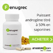 Complément alimentaire de fenugrec : puissant androgène titré à 50 % en saponines. Boîte blanche, gélules et graines de fenugrec. Fond blanc et gris clair.