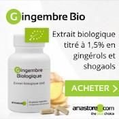 Gingembre bio proposé sous forme de complément alimentaire : boîte, gélules, racine de gingembre et explications du produit sur fond blanc et gris.