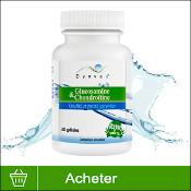 Produit Glucosamine et Chondroïtine en gélules avec une vague d'eau en arrière plan sur fond blanc.