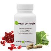 Complément alimentaire à base de plantes aphrodisiaques : boîte, gélules, graines de grenade et feuilles de ginkgo biloba sur fond blanc.