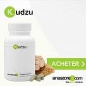 Complément alimentaire à base de kudzu : boite, gélules et fleur.