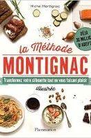 """Couverture du livre """"Méthode Montignac"""" avec des plats et aliments autour du titre sur fond blanc"""