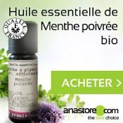Huile essentielle de menthe poivrée : flacon, titre du produit, mention acheter et feuilles de menthe poivrée sur fond blanc et vert.