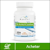 N-acétylcystéine : boite de compléments alimentaires (gélules) de la marque française Dynveo sur fond blanc. La mention acheter est sur fond vert, en bas de l'image.
