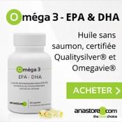 Boite de compléments alimentaires blanche à base d'oméga-3 avec des gélules transparentes, légèrement jaunes, devant le produit.