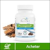 Pycnogenol : boite de compléments alimentaires (gélules) de la marque française Dynveo. Fond blanc avec une écorce de pin maritime en arrière plan, derrière la boite. La mention acheter est sur fond vert, en bas de l'image.