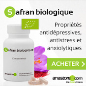 Complément alimentaire à base de safran biologique : boîte, gélules, fleur et pistils de safran.
