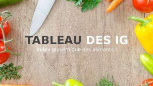 Tableau des IG, index glycémique des aliments écrit au milieu d'une image fond bois avec des aliments tout autour en bordure de l'image