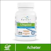 Ubiquinol (coenzyme Q10) : boite de compléments alimentaires (gélules) de la marque française Dynveo sur fond blanc. La mention acheter est sur fond vert, en bas de l'image.