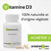 Complément alimentaire à base de vitamine D : boite et gélules sur fond gris.