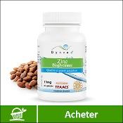Zinc : boite de compléments alimentaires bio (gélules) de la marque française Dynveo. Fond blanc avec des amandes en arrière plan, derrière la boite. La mention acheter est sur fond vert, en bas de l'image.
